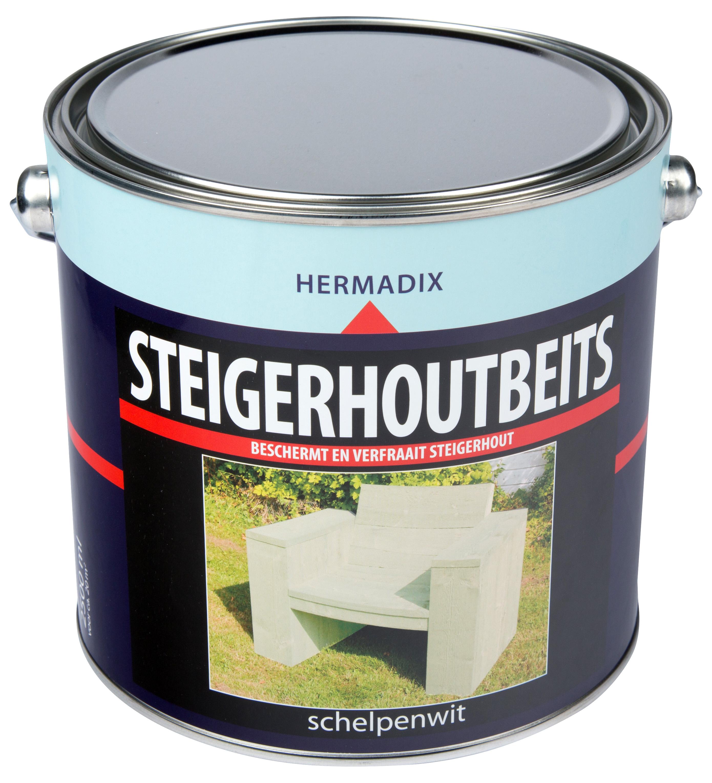 Hermadix   Steigerhouten beits Schelpen Wit   2500 ml