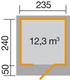 WEKA | Designhuis 172 Gr.1 | 235x240 cm | Zweeds rood
