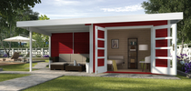 WEKA | Designhuis 126 B | 590 x 240 cm | Zweeds rood