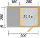 WEKA   Designhuis 'wekaLine' 413A Gr.1   400x250 cm   Antraciet