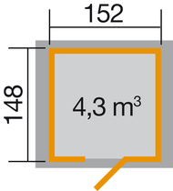 WEKA | Tuinhuis 317 | 152 x 148 cm | Gelakt