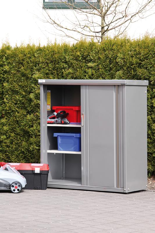 metalen berging tuin kopen online internetwinkel. Black Bedroom Furniture Sets. Home Design Ideas