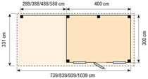 Topvision | Blokhut Kievit met zijluifel 400 cm | Geimpregneerd-groen OP=OP