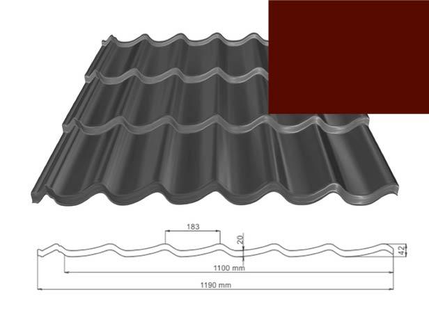ArchelorMittal | Dakpanplaat Kingstile | Rood | 5700 mm