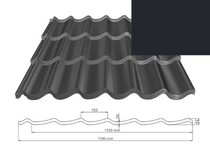 ArchelorMittal | Dakpanplaat Kingstile | Zwart | 500 mm