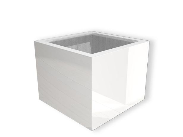 Polyester hoogglans bloembak Buxus | 100 x 100 x 80 cm | Zuiverwit