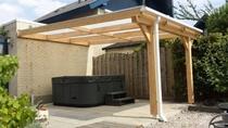 Westwood | Douglas terrasoverkapping | Comfort + | Opaal | 306x200 | Muuraanbouw