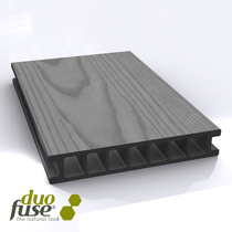Duofuse |  vlonderplank hol | vlak/houtnerf structuur | 28 x 162 | 400cm | Graphite Black