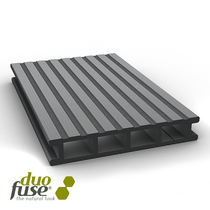 Duofuse | vlonderplank hol | fijn/grof geribbeld | 28 x 162 | 400cm | Graphite Black