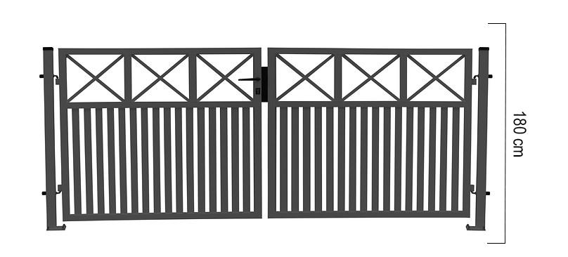 Giardino | Capri | dubbele poort | 300x180cm | RAL7016