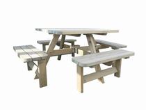 Westwood | Rugleuning picknicktafel Deluxe vierkant | Set