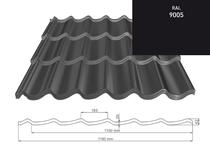 ArcelorMittal | Dakpanplaat | 9005 Zwart Mat | 1.5 m
