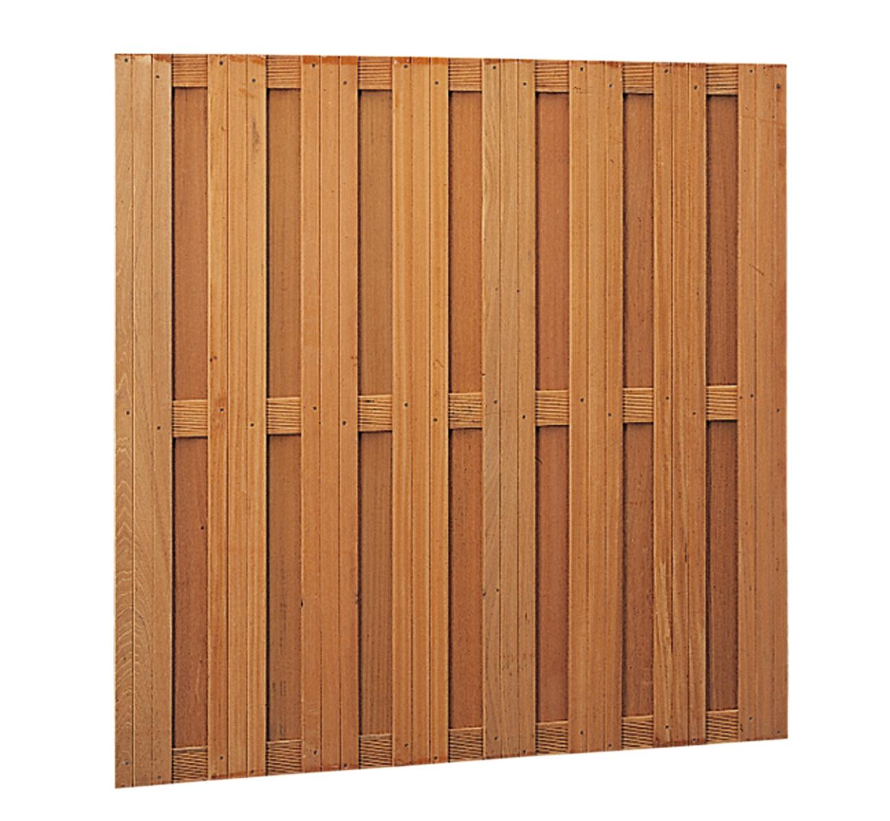 Degelijke rechte hardhouten schermen, met in het hout aangebrachte schroeven (rvs geschroefd). de schermen ...