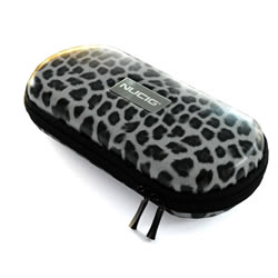 A NUCIG Ego carry storage case white leopard colour.