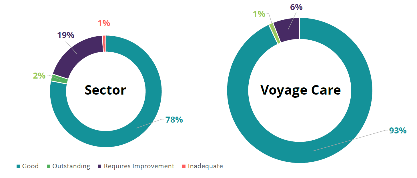 Voyage Care quality scores in the sector pie chart