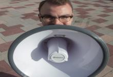 Liam big megaphone face