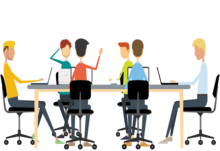 Business meeting png cartoon business people having a meeting and discussion 800