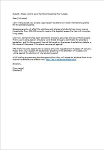 Maintenance grants mp letter