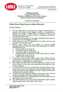 Equal access to higher education motion 2012