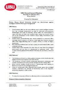 No discrimination against students from poorer backgrounds motion 2012