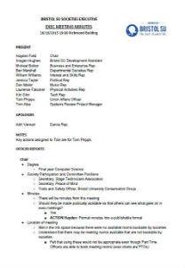 Exec meeting minutes 26th october 2015