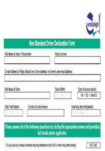 Non standard driver form