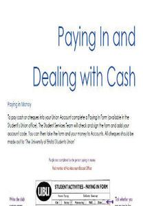 Paying in and dealing with cash