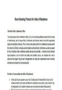 Room booking protocol