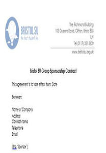 Sponsorship Contract Template | Society Sponsorship Contract Template Bristol Su