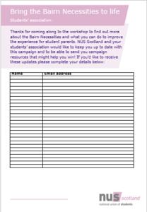 Sign up sheet parents snip