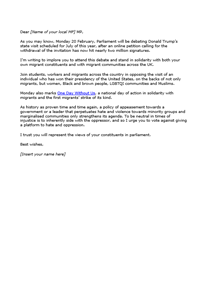one day without us template letter to mps nus connect