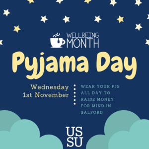 Blue illustrated sky pajama party invitation