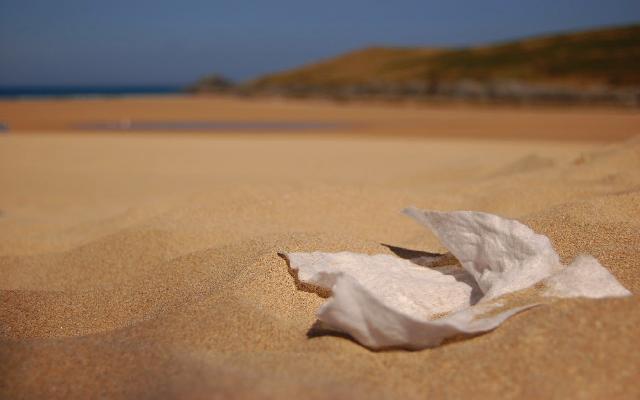 wet wipe on beach