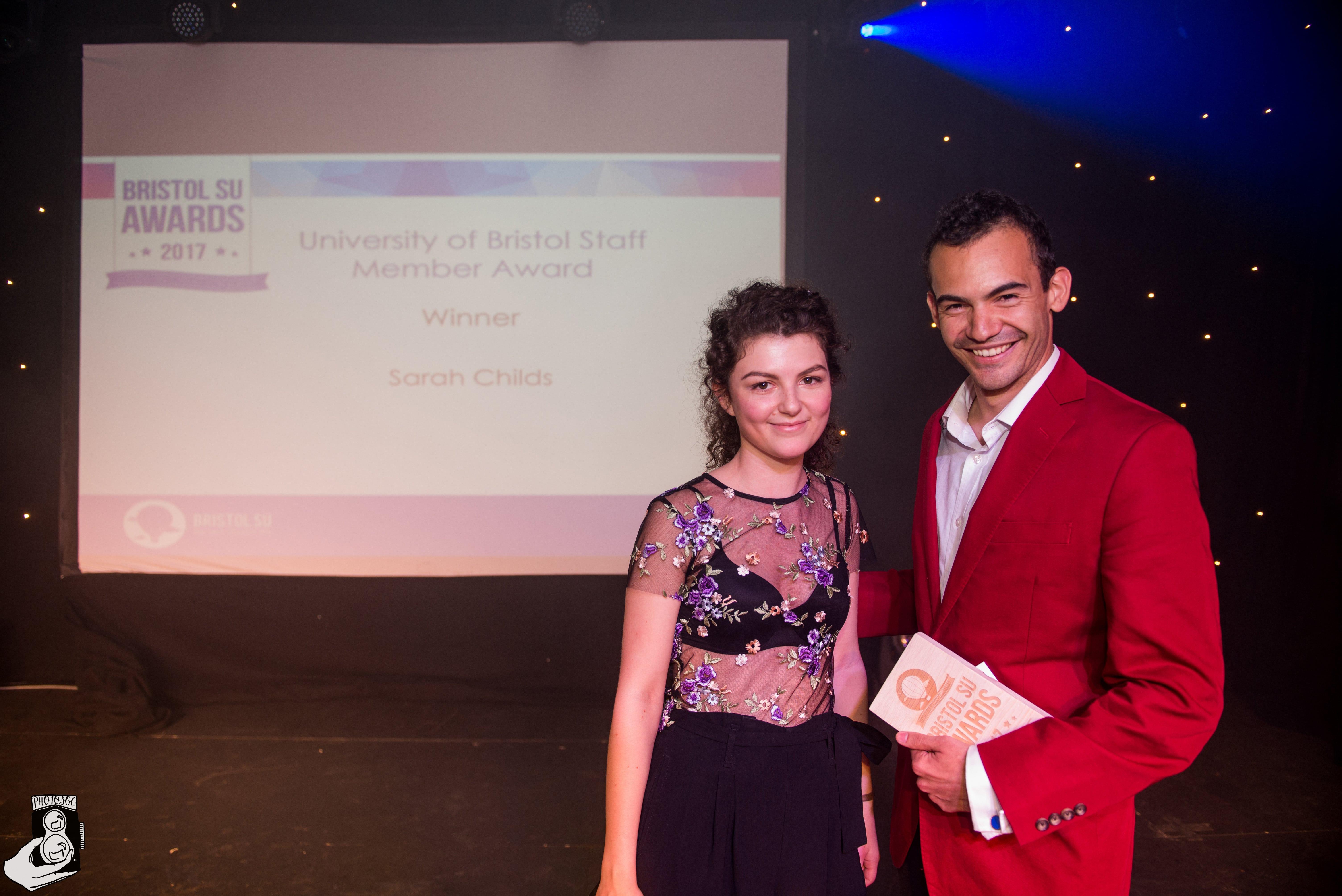 Sarah Childs winning University of Bristol staff member