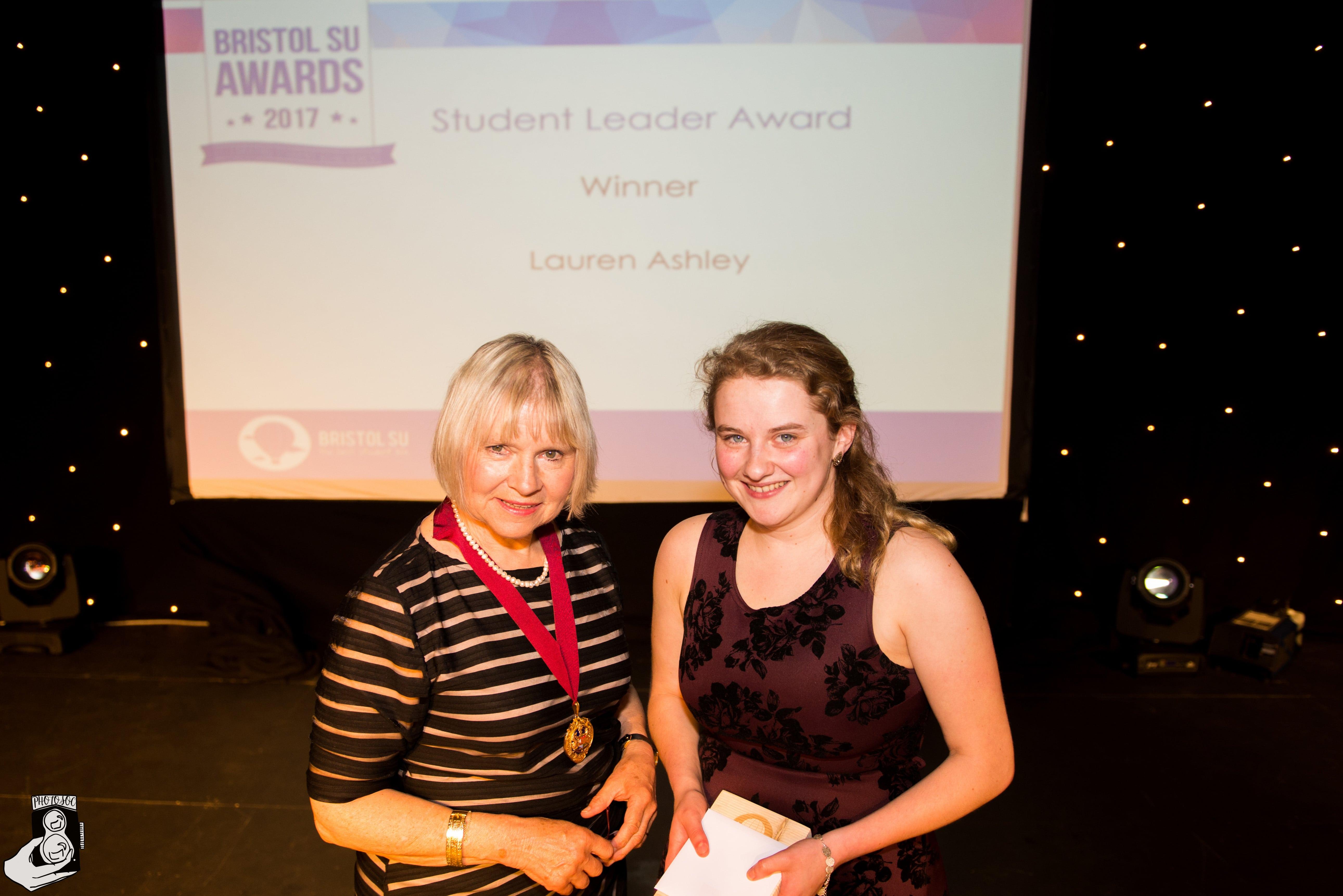Lauren Ashley winning Student Leader award