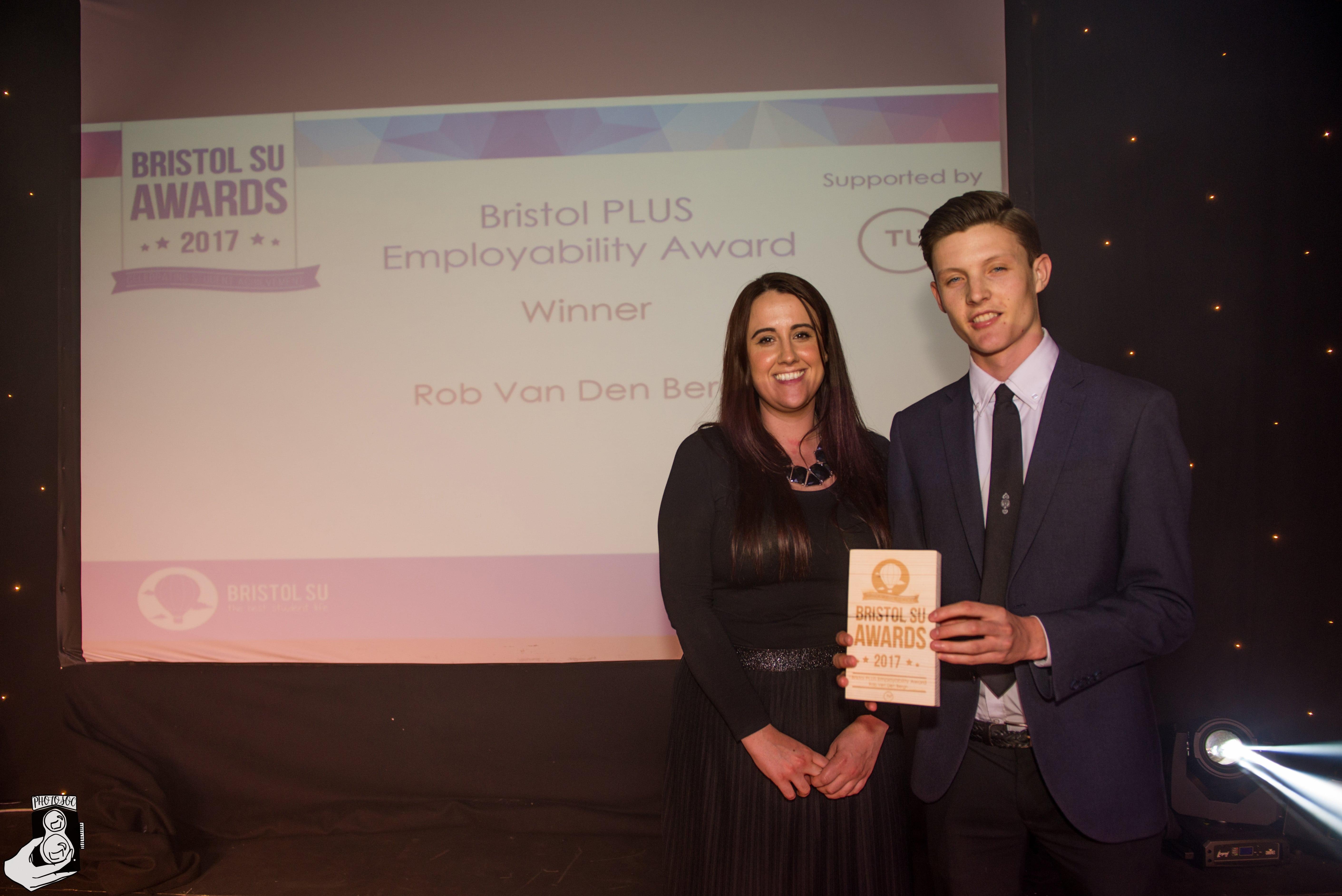 Rob Van Den Burgh winning Employability award