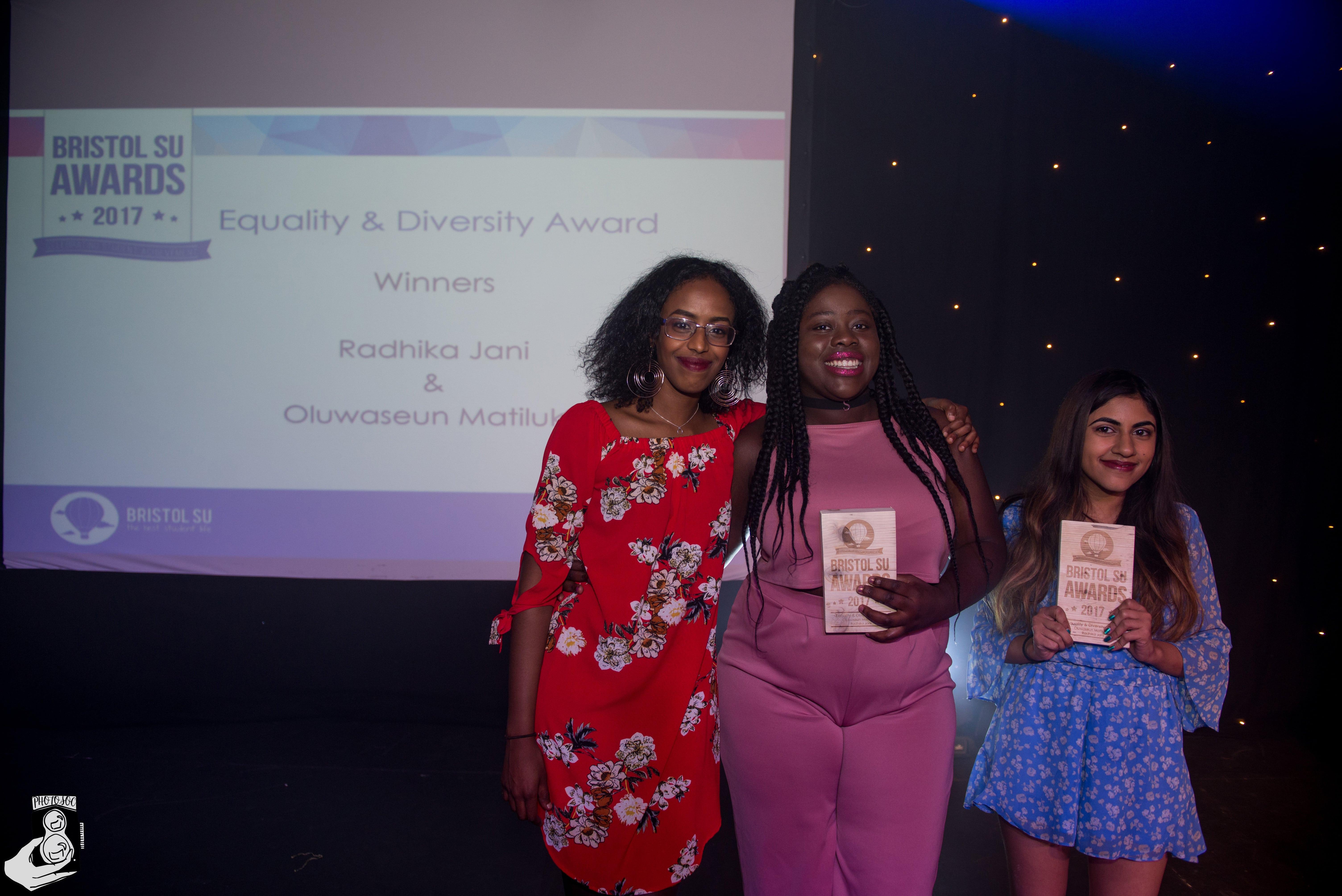 Seun Matiluko and Radhika Jani winning Equality award
