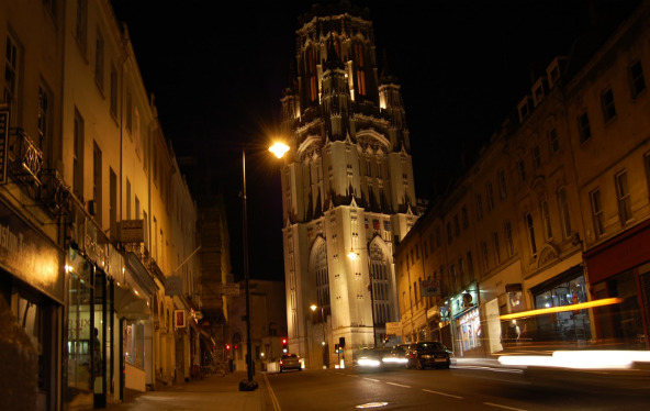 A view of Wills Memorial Tower at night time from Park Street