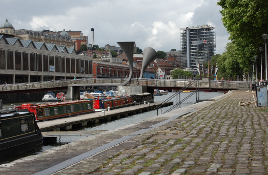 A view of Peros Bridge from Narrow Quay, along Bristol Floating Harbour in the City Centre