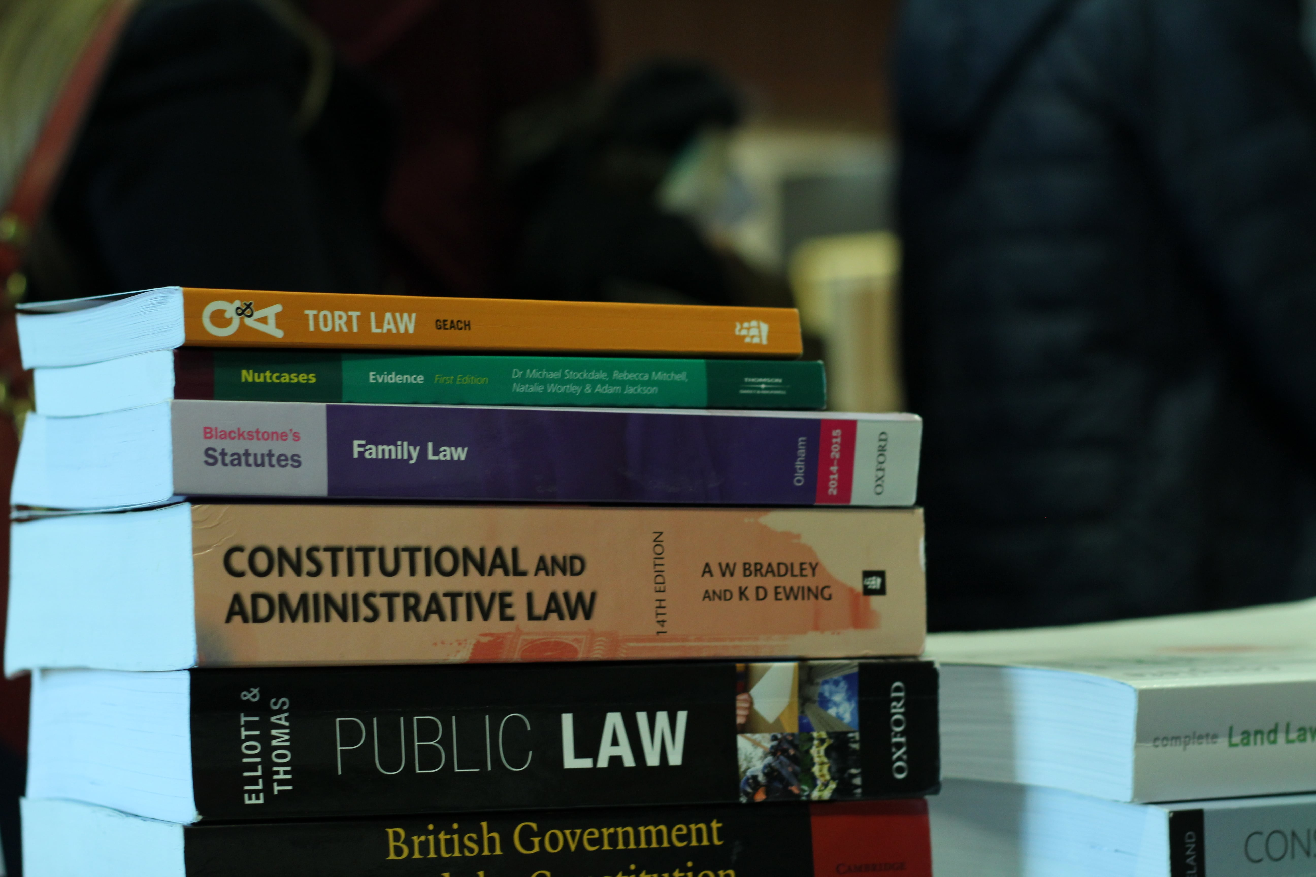 A pile of different books about law