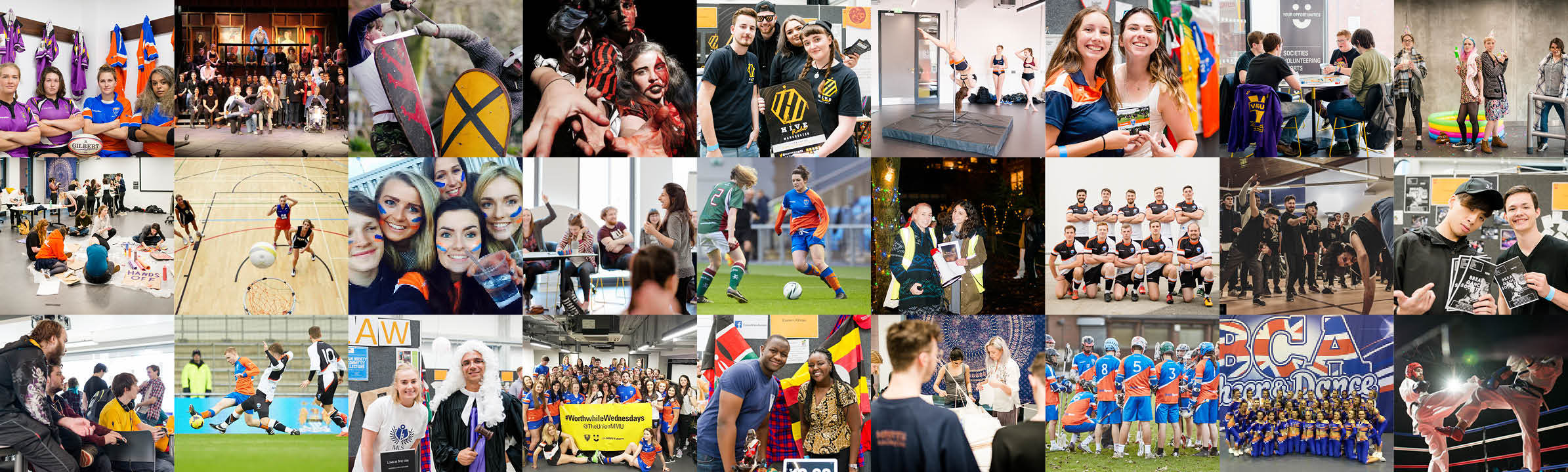 Montage of student societies.