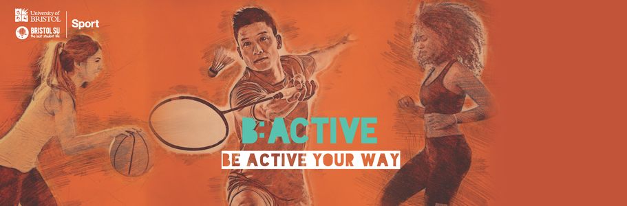 B:Active Banner of two girls and a boy playing sport/exercising