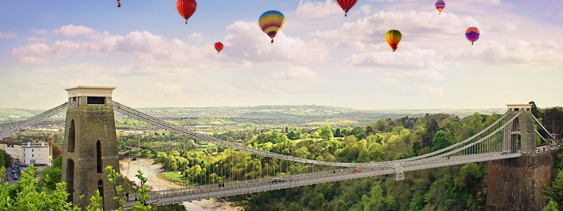 Clifton Suspension Bridge with balloons in the background