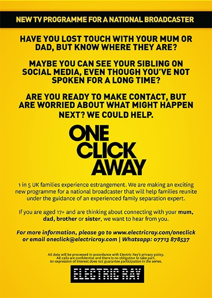 New TV show: Are you looking for your mum, dad, brother or