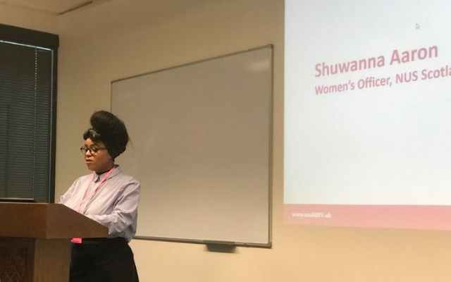 Shuwanna speaking at the launch of the GBV support cards