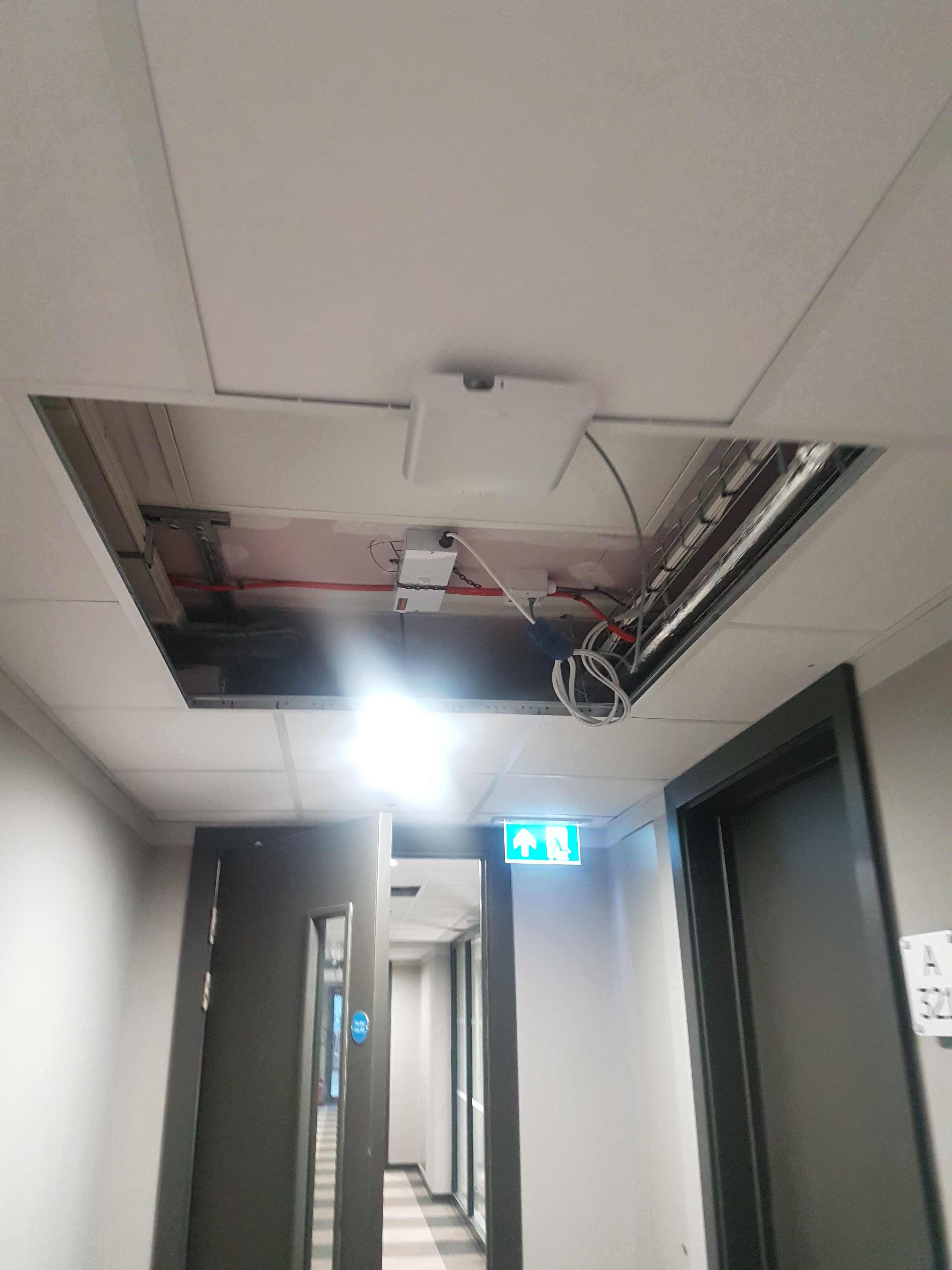 Ceiling with exposed wiring