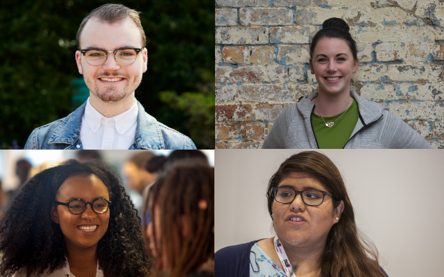 NUS Scotland's elected officers (clockwise from top left): President Liam McCaber, Deputy President Gemma Jones, Women's Officer Shuwanna Aaron and Vice President (Communities) Elena Semple