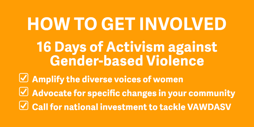 Text on orange background. How to get involved. 16 days of Activism against Gender-based Violence. 1. Amplify the diverse voices of women. 2. Advocate fro specific changes in your community. 3. Call for national investment to tackle VAWDASV