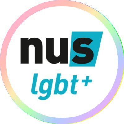 Logo of NUS LGBT+ circled with a pastel rainbow