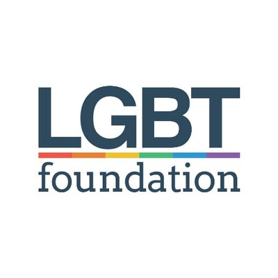 Logo LGBT foundation in blue text with a rainbow line between LGBT and foundation